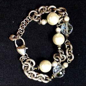 Vintage Brighton Pearl and Crystal Bracelet